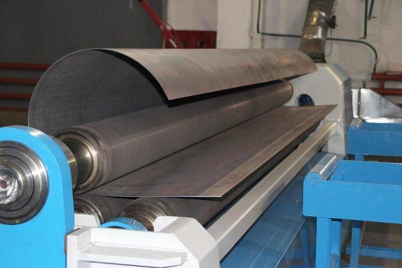 Гибка металлического листа на 3-х валковом листогибочном станке
