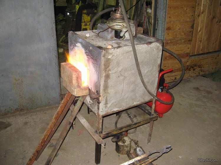 Процесс нагрева заготовок в горне
