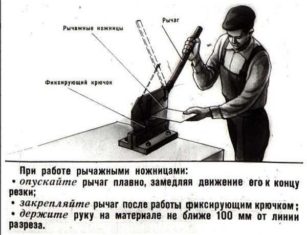 Правила резки на рычажных ножницах