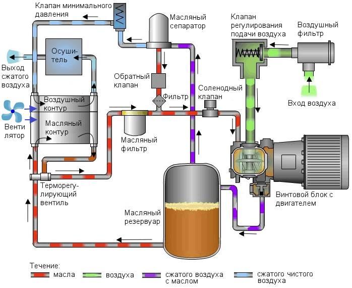 Схема устройства винтового компрессора