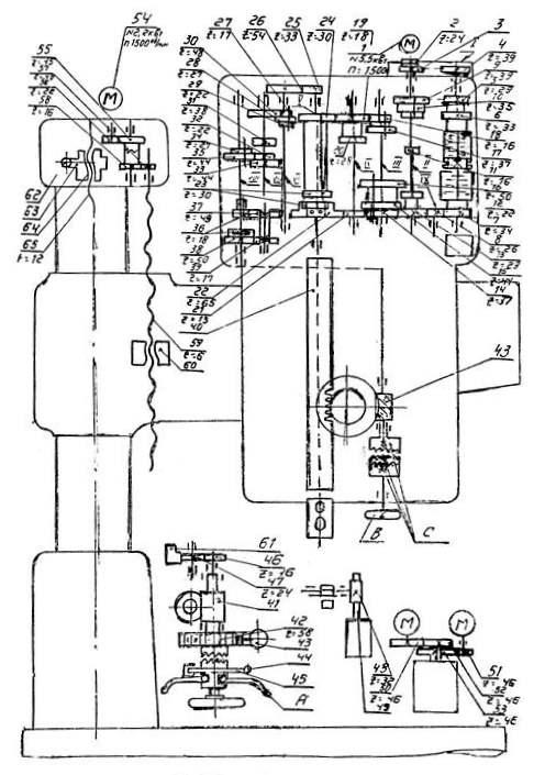 Кинематическая схема станка 2М55