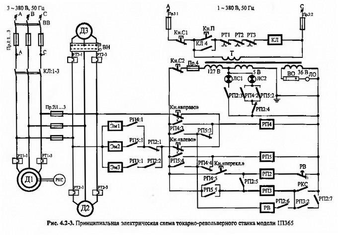 Электрическая схема токарно-револьверного станка на примере 1П365