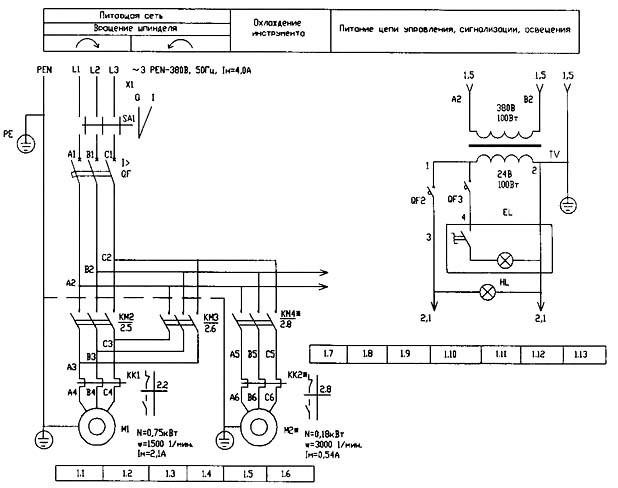 Электрическая схема настольно-сверлильного станка ГС2116К