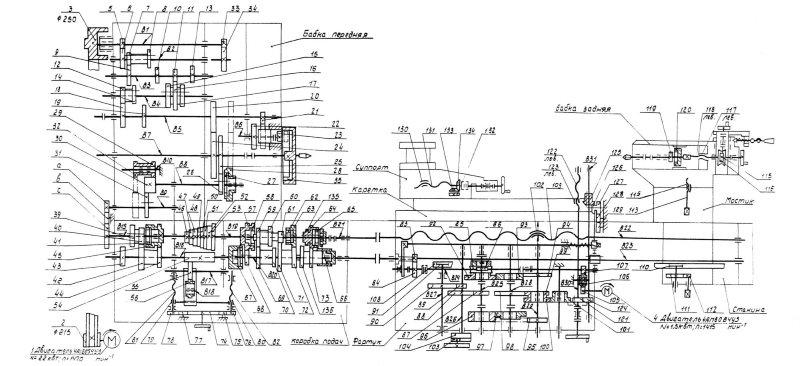 Кинематическая схема токарно-винторезного станка 1Н65