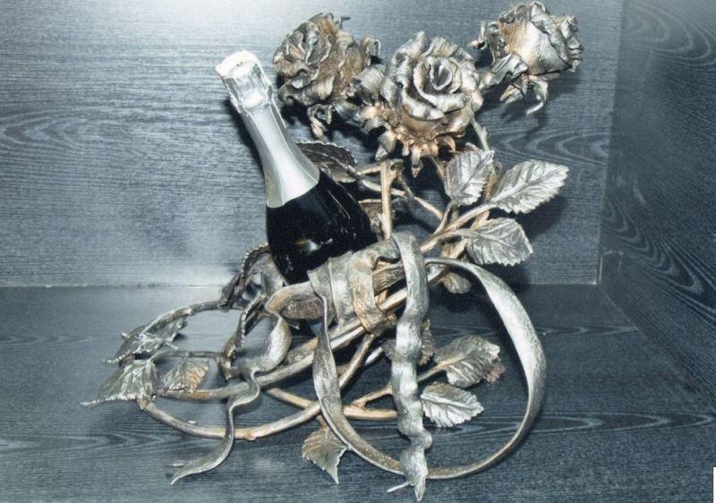 Кованые роза подставка для бутылки