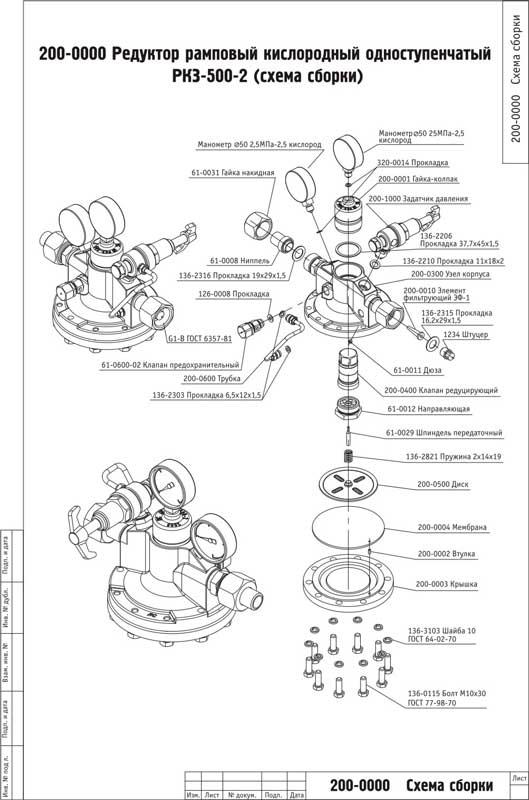 Кислородный редуктор РКЗ 500-2 (схема сбора)