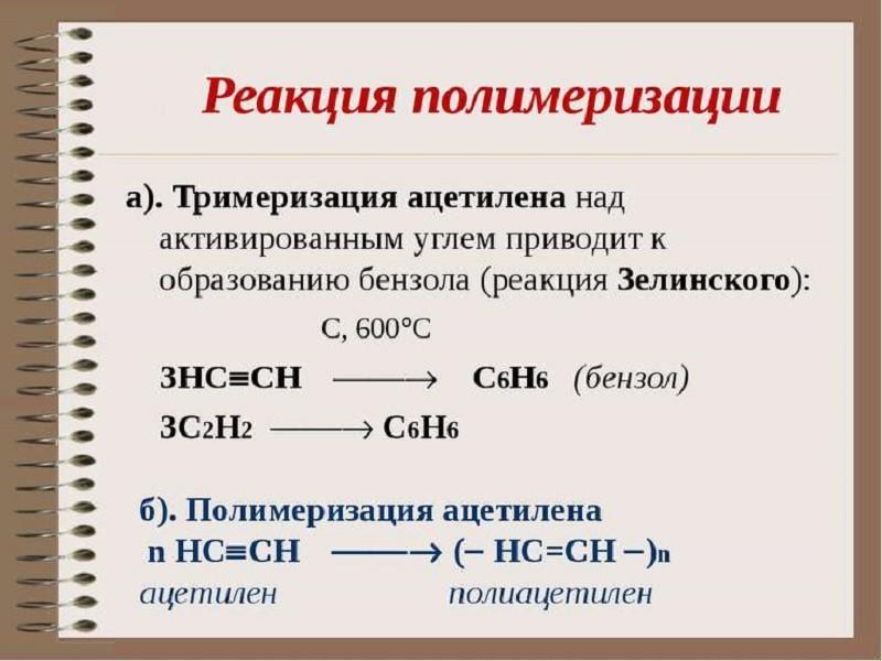 Реакция полимеризации ацетилена
