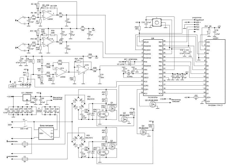 Принципиальная схема контроллера для инфракрасной паяльной станции своими руками