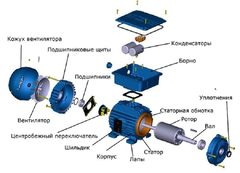 Конструкция асинхронного однофазного электродвигателя