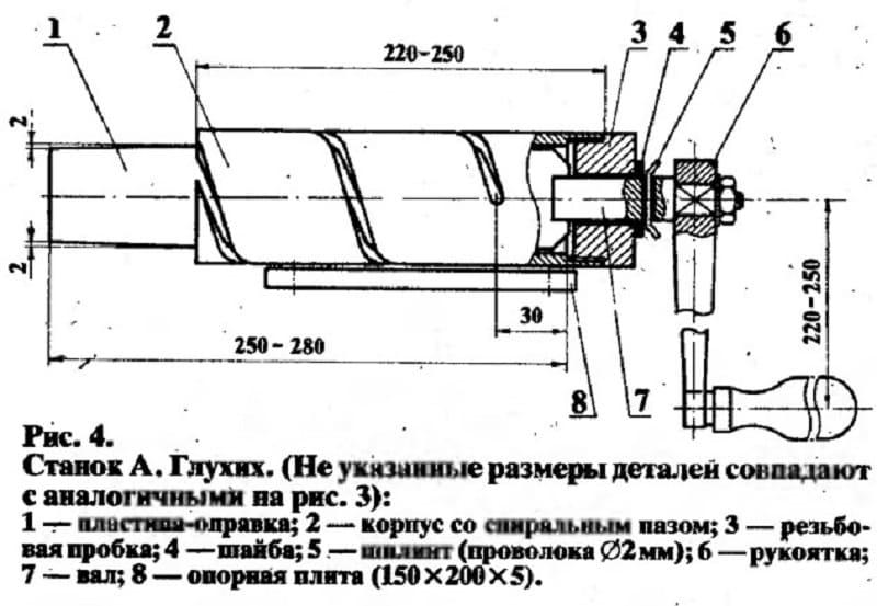 Устройство ручного станка для производства сетки рабицы