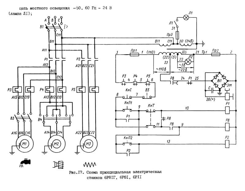 Электрическая схема принципиальная станка 6Р81