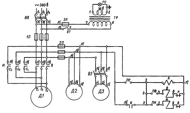 Электрическая схема токарного станка 1Е61М