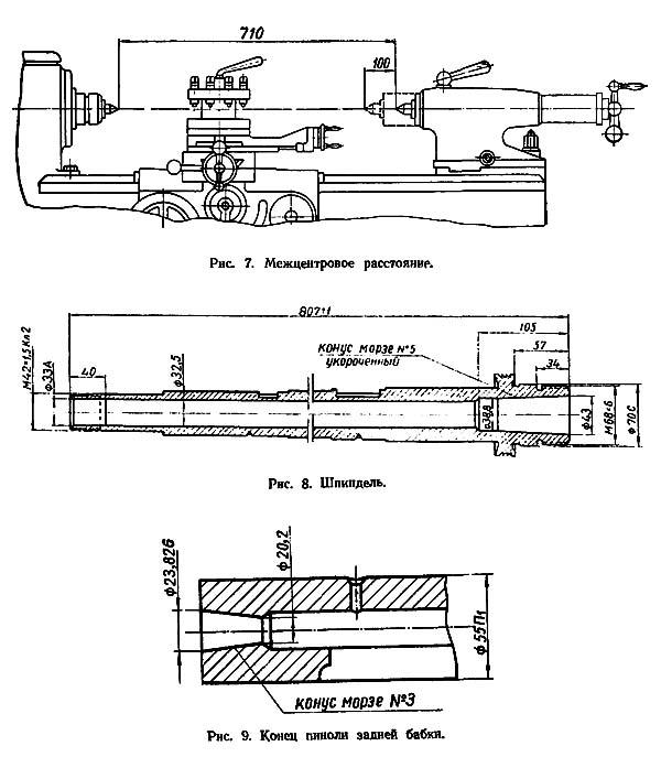 Межцентровое расстояние, шпиндель и задняя бабка станка 1Е61М