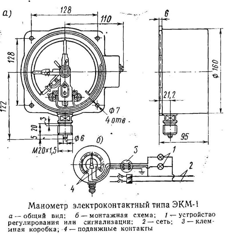 Конструкция электромагнитного манометра