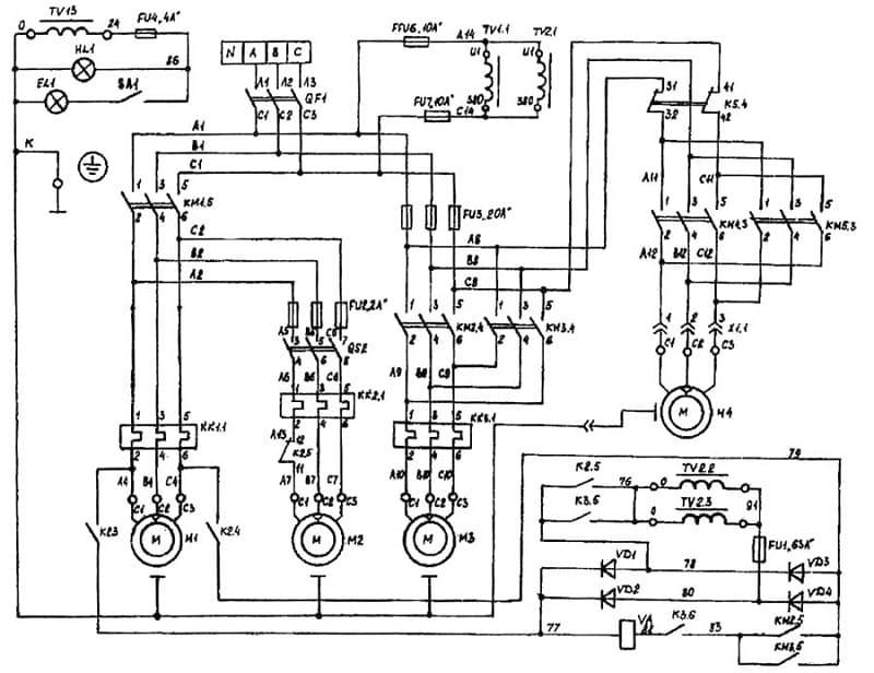 Электрическая схема станка ВМ127