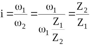 Формула расчета передаточного отношения червячной передачи