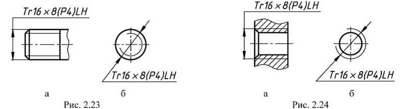 Обозначение на чертеже левой резьбы