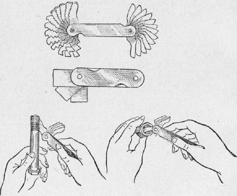 Использование резьбомера